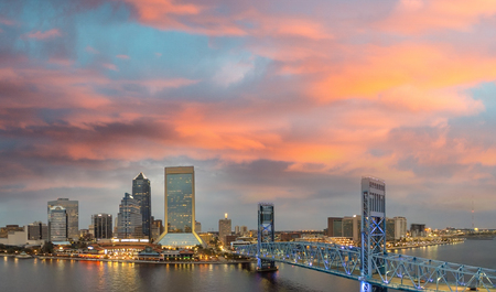 Amazing panoramic aerial view of Jacksonville skyline at dusk, Florida.
