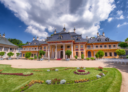 Panoramic view of Pillnitz Castle and gardens in summer season, Germany.