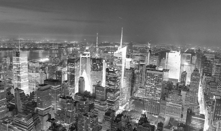 NEW YORK CITY - Amazing night skyline of Manhattan. New York attracts 50 million people every year.