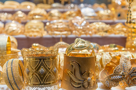 Golden souk objects in Dubai.