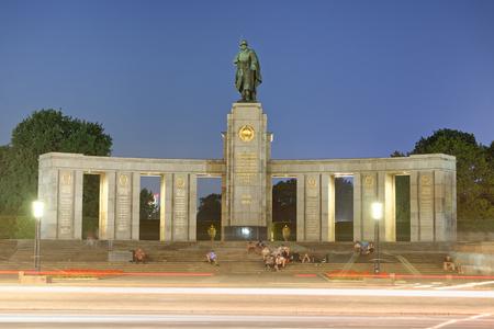 BERLIN, GERMANY - JULY 24, 2016: Soviet War Memorial in Berlin Tiergarten at night. This is the Monument Of Soviet Soldiers. Editorial