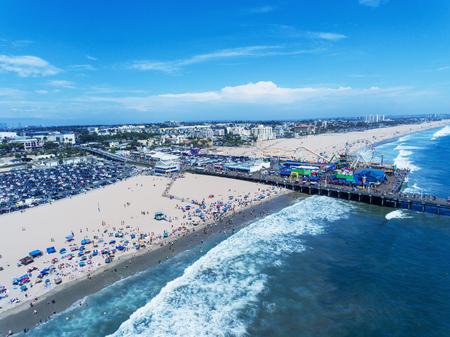 Santa Monica Beach aerial view, California. Stock Photo