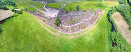 Aerial panoramic view of Hill of Crosses, Lithuania.