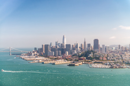 Amazing aerial skyline of San Francisco from helicopter, California - USA.