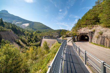 Breakwater of Vajont, Italy. Dolomites Dam.