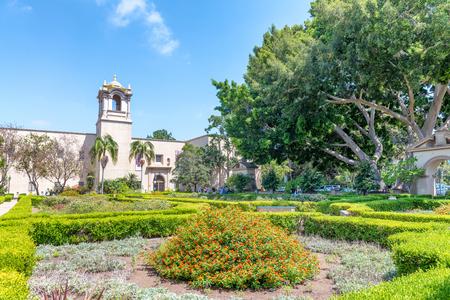 Tourists in Alcazar Garden, Balboa Park. San Diego attracts 20 million people annually.
