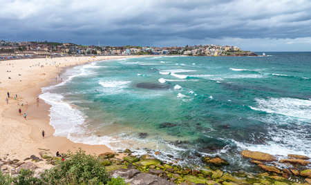 Beautiful view of Bondi Beach on a cloudy day, Sydney - Australia.