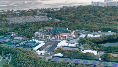 MIAMI - FEBRUARY 27, 2016: Crandon Park in Key Biscayne, aerial view. It is famous for international tennis championships. Éditoriale
