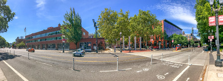 PORTLAND, OR - AUGUST 18, 2017: Panoramic view of city streets. Portland attracts 5 million tourists annually.