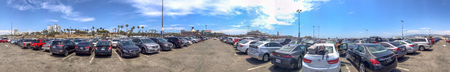 SANTA MONICA, CA - AUGUST 1, 2017: Panoramic view of city parking near the beach. The city is a major tourist destination.