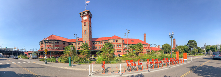 PORTLAND, OR - AUGUST 21 2017: Panoramic view of city train station. Portland attracts 5 million visitors annually.