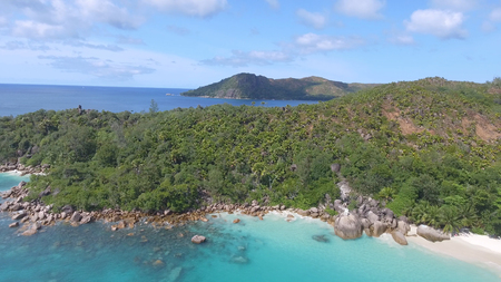 Aerial view of beautiful tropical beach from drone.