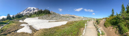 Panoramic view of amazing Mount Rainier landscape in summer season.