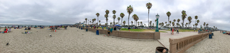 SAN DIEGO, CA - JULY 28, 2017: Panoramic view of Mission Beach Park. This is a famous tourist attraction. Éditoriale