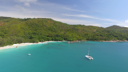 Beautiful beach of Seychelles, aerial view.