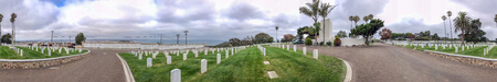SAN DIEGO, CA - JULY 29, 2017: Panoramic view of Fort Rosecrans National Cemetery. This is a famous tourist attraction.