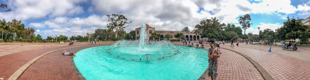 SAN DIEGO, CA - JULY 29, 2017: Panoramic view of Bea Evenson Fountain in Balboa Park. This is a famous tourist attraction.