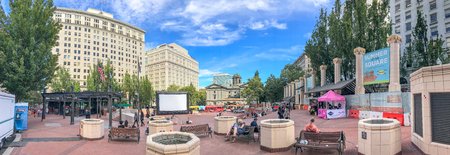 PORTLAND, OR - AUGUST 18, 2017: Panoramic view of Pioneer Courthouse Square. Portland attracts 5 million tourists annually.