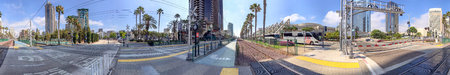 SAN DIEGO, CA - JULY 30, 2017: City streets near Convention Center on a beautiful summer day. San Diego attracts 20 million tourists annually. Éditoriale