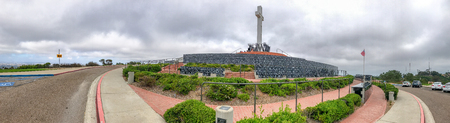 SAN DIEGO, CA - JULY 28, 2017: Panoramic view of Mt Soledad National Veterans Memorial. This is a famous tourist attraction. Éditoriale