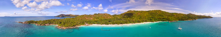 Panoramic aerial view of Anse Lazio from drone viewpoint. Stock Photo