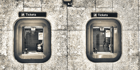 Ticket boxes in a train station. Banque d'images