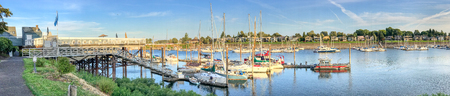PORTLAND, OR - AUGUST 19, 2017: Panoramic view of Hayden Bay with docked boats. Portland attracts 5 million visitors annually.