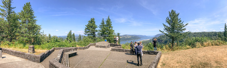 PORTLAND, OR - AUGUST 19, 2017: Tourists enjoy panoramic view of Columbia river gorge. It is a famous attraction in Oregon.
