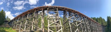 Panoramic view of Kinsol Trestle wooden bridge in Vancouver Island, Canada. Редакционное