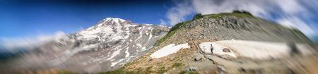 Mount Rainier National Park trail in summer season.