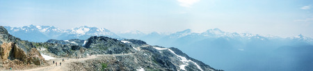 Beautiful panoramic view of Whistler Mountains in summer season.