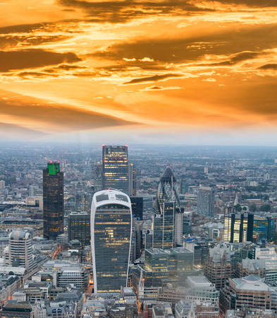 Aerial view of City of London skyline.