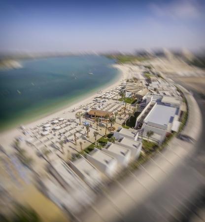 Panoramic view of Yas Island Beach, UAE. Stock Photo