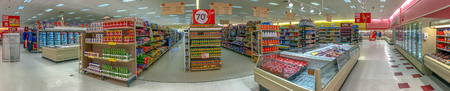 SUNNYSIDE, FL - FEB. 8, 2016: Winn-Dixie supermarket, panoramic view. is an American supermarket chain headquartered in Jacksonville, Florida.