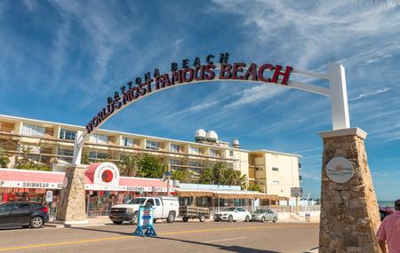 DAYTONA BEACH, FL - FEBRUARY 17, 2016: Entrance of beach road. Daytona road on the beach is a famous tourist attraction.