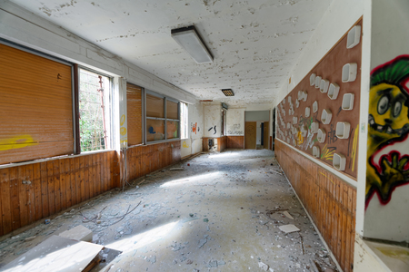 VOLTERRA, ITALY - FEBRUARY 24, 2018: Interior of abandoned asylum. It closed in 1984. 報道画像