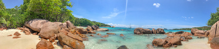 Panoramic view of Anse Lazio, Praslin - Seychelles. Фото со стока