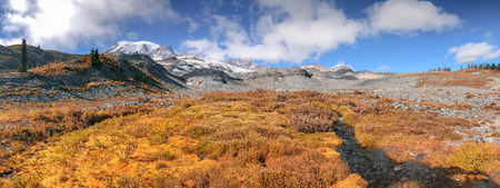 Panoramic view of Mt Rainier landscape on a beautiful autumn day.