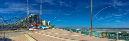 DAYTONA BEACH, FL - FEBRUARY 17, 2016: City promenade along the ocean. Daytona Beach is a famous tourist attraction in Florida.