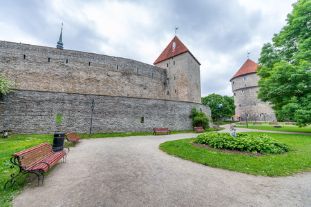 Ancient walls, towers and gardens of Tallinn, Estonia.