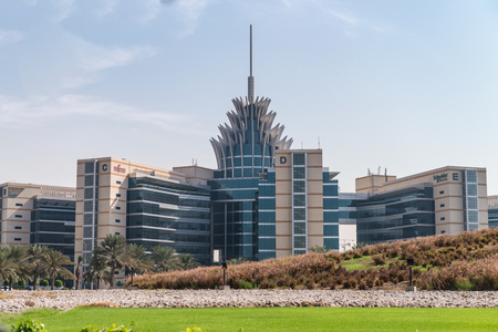 DUBAI, UAE - DECEMBER 4, 2016: Dubai Silicon Oasis Headquarters building. Dubai Academic City in UAE. Foto de archivo - 97342558