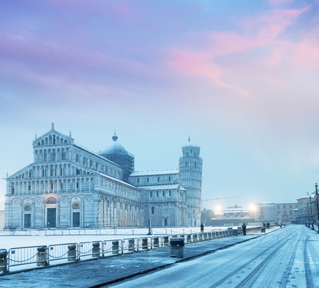 Square of Miracles at sunset after a winter snowstorm, Pisa - Italy.