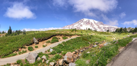 Panoramic view of Mt Rainier trails on a beautiful summer day.