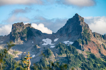 Beautiful mountain peaks in Mt Rainier National Park.