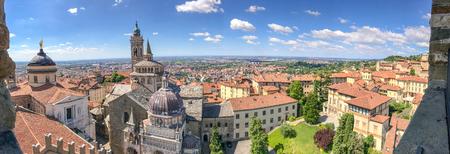 Bergamo Alta aerial panoramic view in summer season. Фото со стока