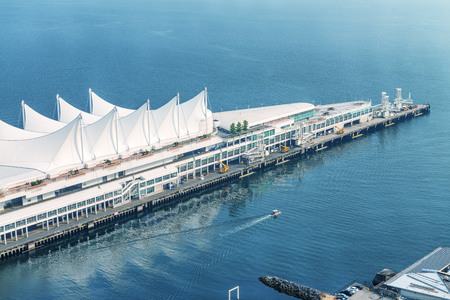 Aerial view of Canada Place in Vancouver on a sunny day.