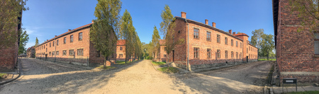 Buildings of concentration camp at Auschwitz Birkenau, panoramic view. Editorial