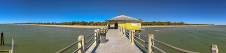 Pier in the Fort De Soto Park, Florida. Stock Photo