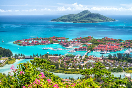 Aerial view of Mahe' Island, Seychelles. Stock Photo