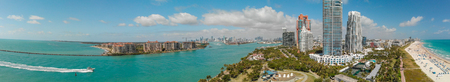 Aerial view of Miami skyline from South Pointe Park, Florida.